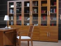 三组双开玻璃门带抽屉板式书柜和桌椅3dmax模型