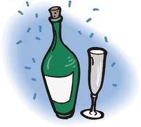 香槟酒和高脚杯