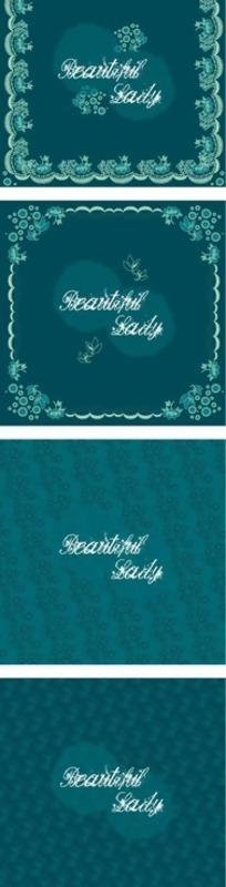 欧式蓝色精美边框和底纹元素