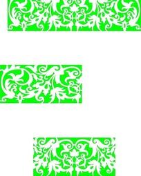 3卷曲枝叶花朵组成的镂空中式窗格图案