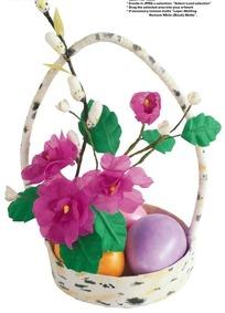 白色斑点艺术花篮里的玫红色花朵抠图素材