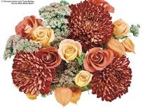 娇艳美丽的玫瑰与菊花造型艺术插花抠图素材
