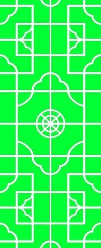 圆形方形组成的镂空中式窗格图案