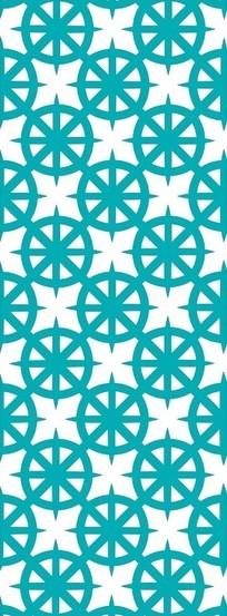 圆形米字形组成的镂空窗格图案
