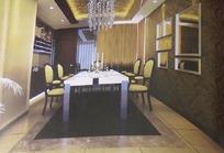 贵气豪华餐厅3D效果图