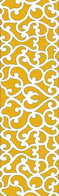 黄底色云纹镂空中式窗格图案