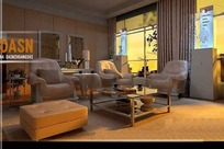 咖色系客厅精装修3D效果图