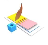 立体彩色记事本和蓝色笔筒里的羽毛笔网页图标素材