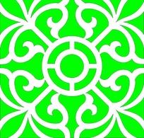 绿色大方对称花纹镂空中式窗格图案