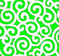 绿色云纹镂空中式窗格图案