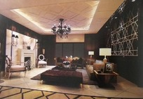 欧式深色调大客厅3D效果图
