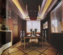 欧式深色系餐厅3D效果图