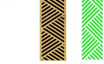三角交叠斜线纹镂空中式窗格图案