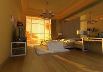 深色系简装卧室3D效果图