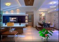 时尚现代客厅装饰效果图3D模板素材