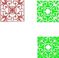 四角对称花纹镂空中式窗格图案