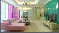 温馨唯美风格客厅装饰效果图3D模板素材