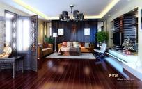 中式古典客厅装饰效果图3D模板