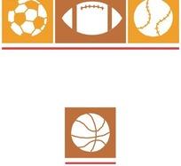 足球篮球橄榄球棒球图案