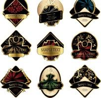 经典华丽欧式酒贴标签矢量素材