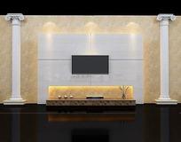 罗马柱式电视背景墙3D效果图