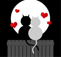 漫画风格月色下坐在烟囱两只相恋的黑猫白猫