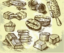 手绘甜品线稿