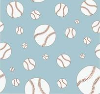 重复的大小棒球矢量图案