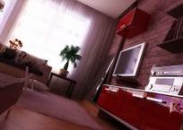红色组合柜电视墙的一角3dmax模型
