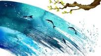树枝和从水中跳跃的海豚图案背景素材