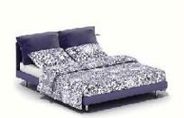 现代实木布艺双人床3D素材
