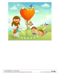 趴在红心树下看耶稣浇水的孩子
