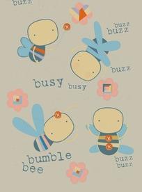 可爱的小蜜蜂和花朵底纹