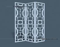 精致花格屏风3D素材