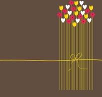 手繪長線條花矢量素材