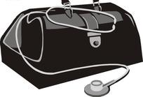手绘医药箱和听诊器