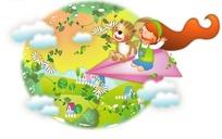 坐在纸飞机上飞行的小女孩和松鼠