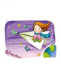 坐在纸飞机上可爱的小女孩