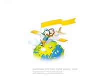 坐着飞机环游地球的孩子