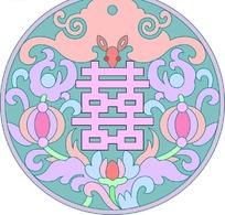 喜字周围的漂亮花纹PSD素材