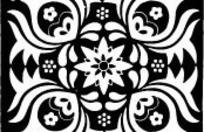 中国古典图案-花朵和几何形构成的方形图案