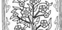 中国古典图案-花朵和卵形叶子构成的方形图案