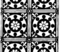 中国古典图案-几何形和花朵构成的方形图案