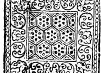 中国古典图案-卷曲纹和六边形构成的方形图案