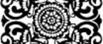 中国古典图案-卷曲纹和圆形构成的方形图案