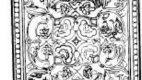 中国古典图案-曲线和几何形构成方形图案