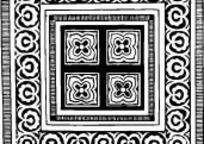 中国古典图案-四瓣花朵和几何形构成的方形图案