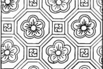 中国古典图案-五瓣花朵和六边形构成的方形图案