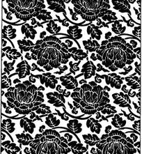 中国古典图案-牡丹和叶子构成的连续纹样