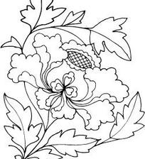 中国古典图案-牡丹花朵和叶子构成的花纹